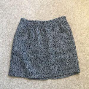 NWT Black Herringbone Wool Skirt JCrew